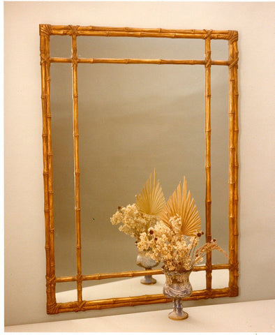 "Classic Lashed Bamboo Mirror with Fret Design 33"" x 45"""