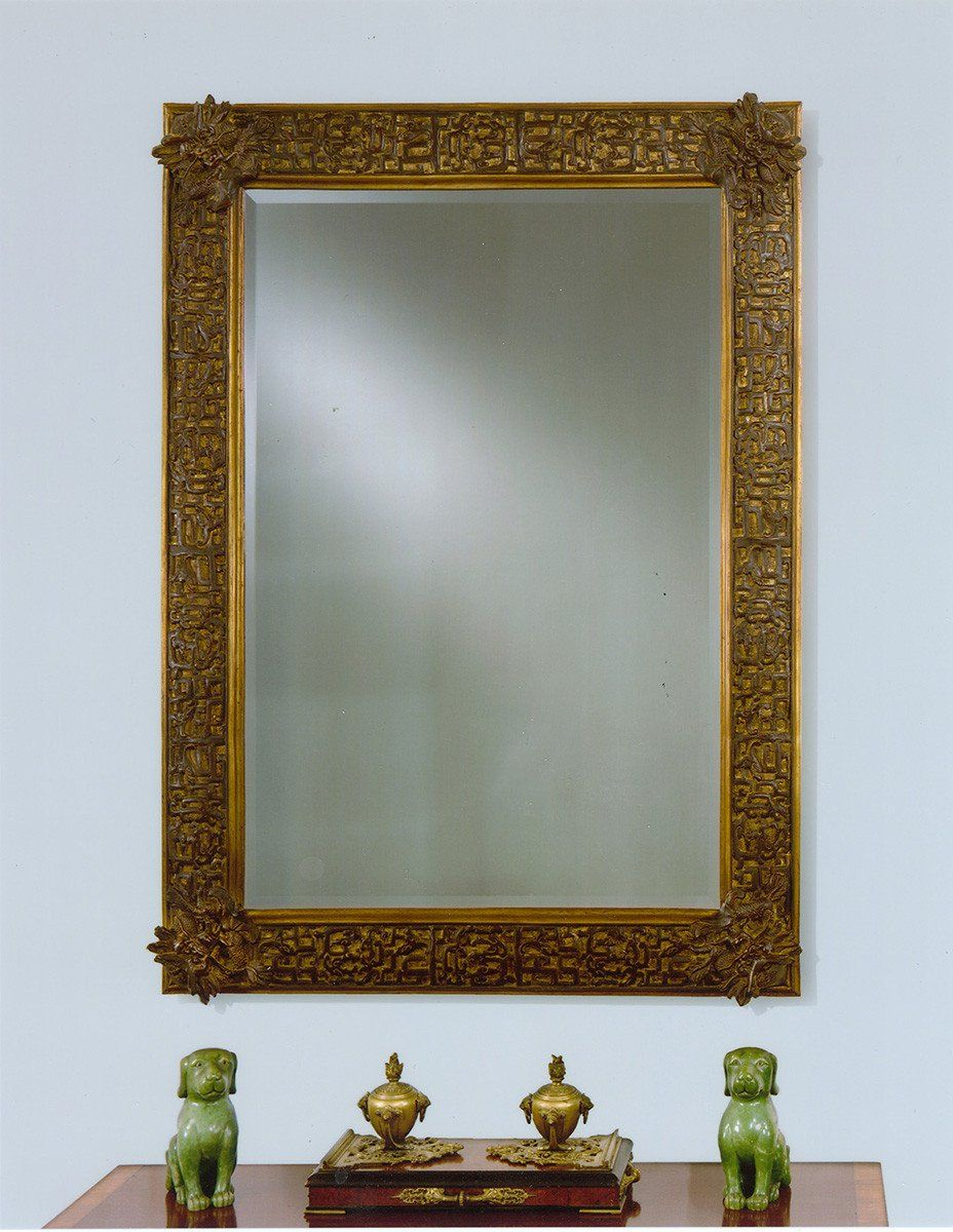 "Fret Work Accented Newport Dragon Mirror 53"" x 69"""