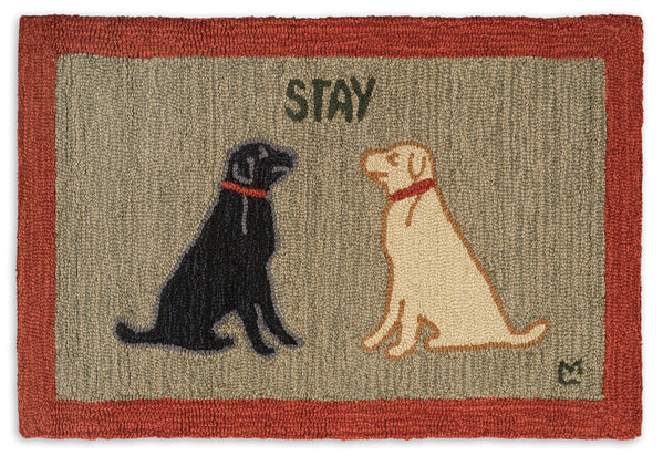 Stay Dog - Hooked Wool Rug