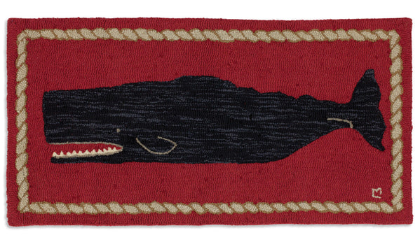 Black Whale on Red - Hooked Wool Rug