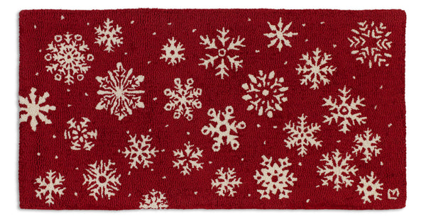 Frosty Flakes On Red - Hooked Wool Rug