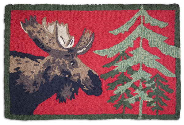 Moose in Pine - Hooked Wool Rug