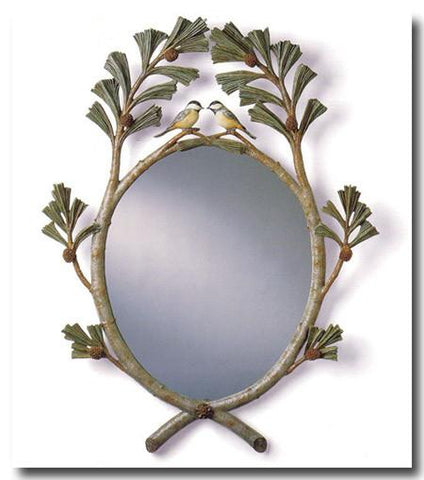Chickadees in Pine Boughs Mirror (Hand Painted or Gold Finish)
