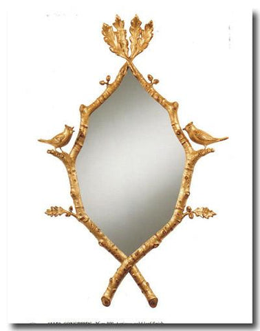 """Songbirds"" Antique Gold Leaf Mirror"