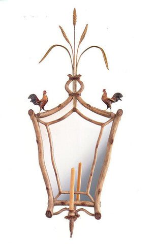 """Roosters with Wheat Sconce"" Mirror"