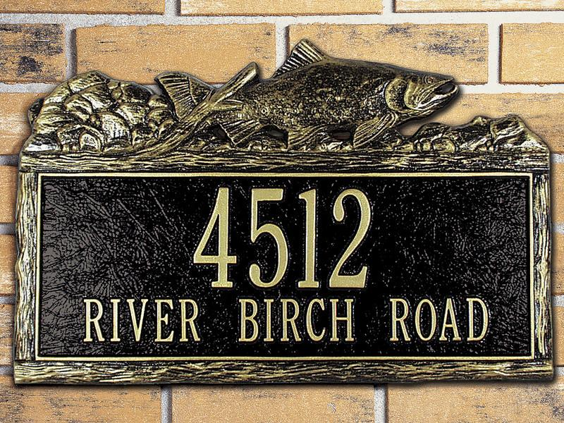 Woodland Salmon Address Plaque