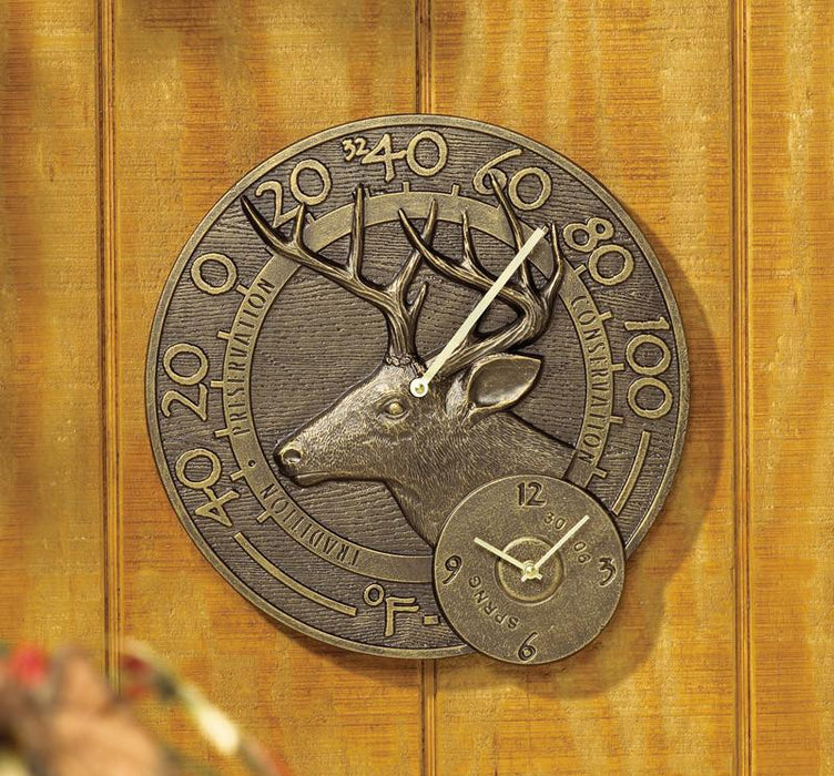 Whitetail Deer  Bronze Thermometer and Clock
