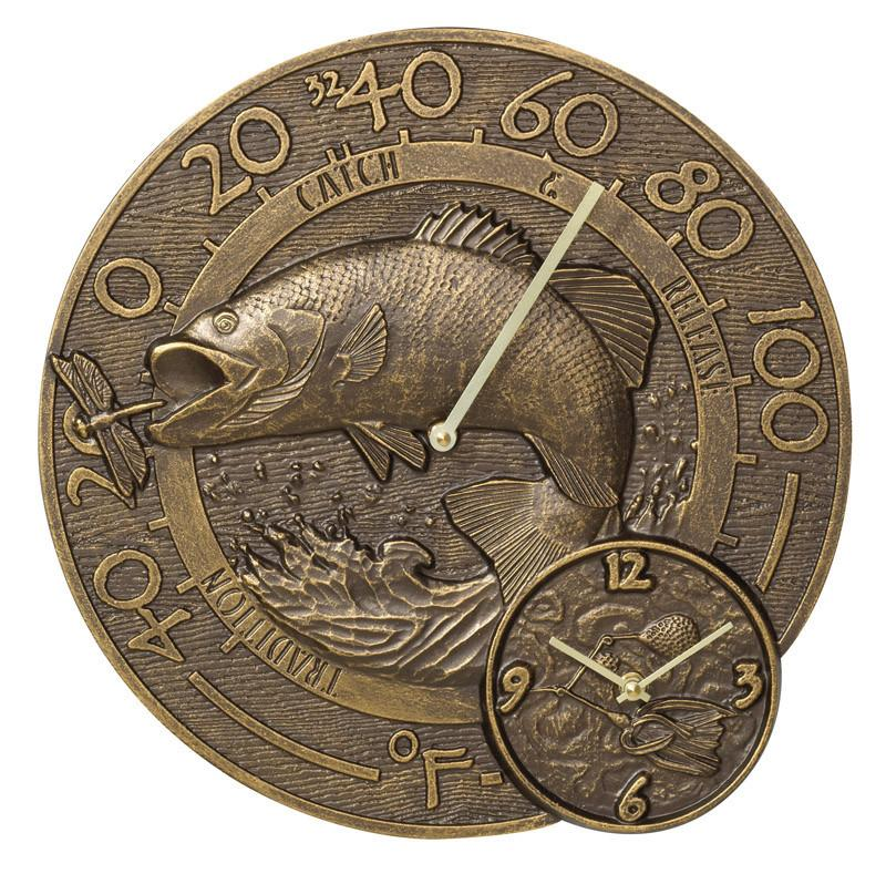 Bass Bronze Thermometer and Clock