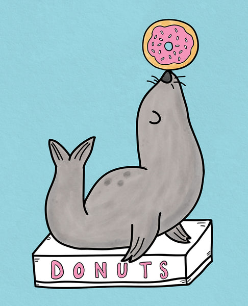 "Cuddles and Rage ""Donut Seal"" Print"