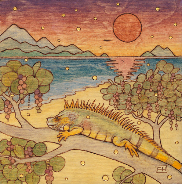 "Fay Helfer ""Iguana on the Beach"" Paper Print"