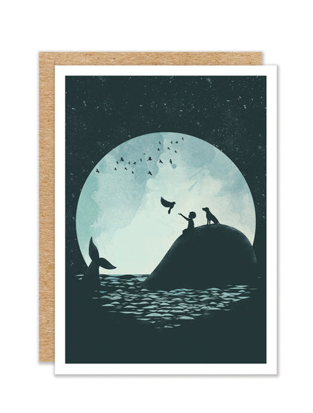 """The Boy and the Whale"" Greeting Card"