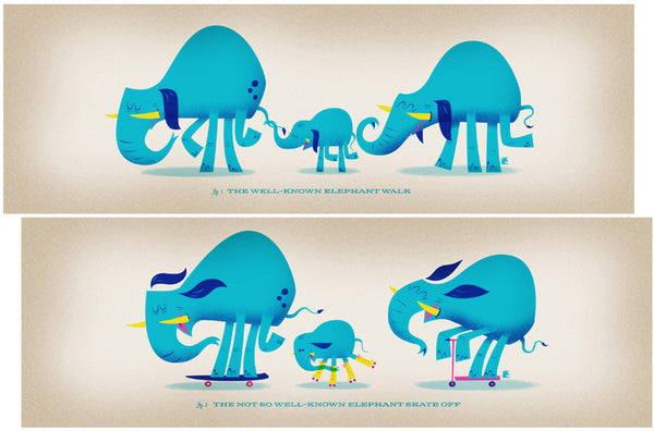 "Mark Borgions ""The Not So Well-Known Elephant Skate Off"" Print Set"
