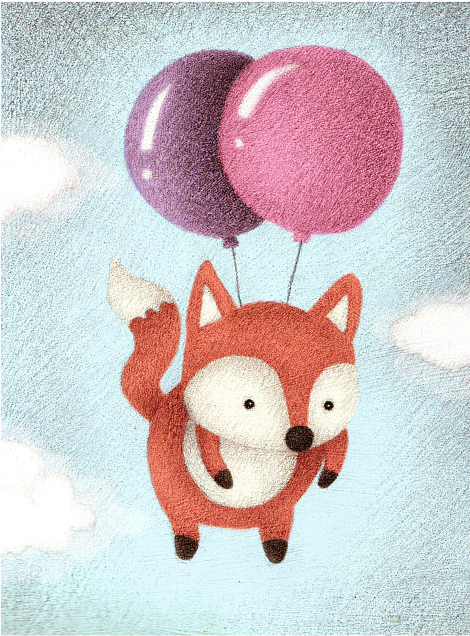 "Alexandria Gold ""Balloon Fox"" Small Print"