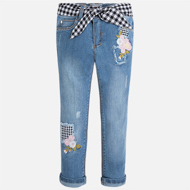 Gingham Patch Jeans - Paparazzi