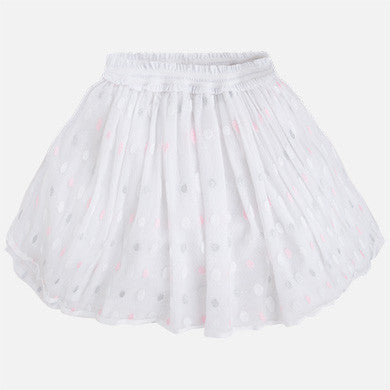 White, Pink & Silver Tulle Skirt - Paparazzi