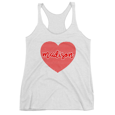 Women's Madison Wisconsin Heart Racerback Tank