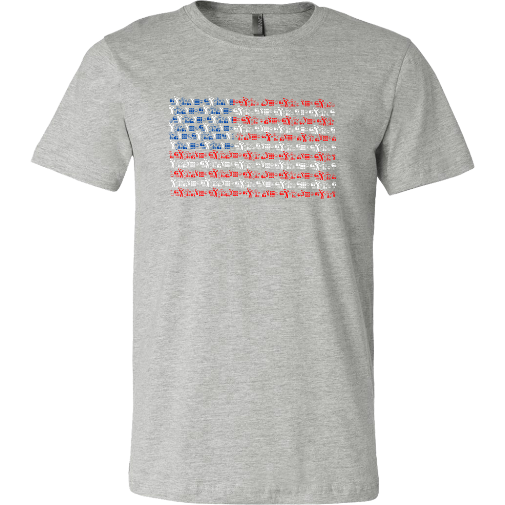American Flag Pattern Golf Tee - Red, White & Blue Golf T-Shirt