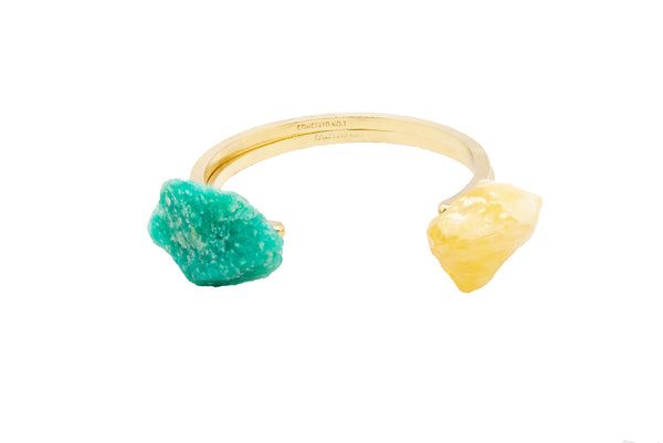 Bracelet Jonc Side Calcite Jaune Or
