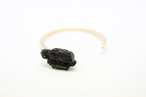 Bracelet Jonc Side Tourmaline Noire Or
