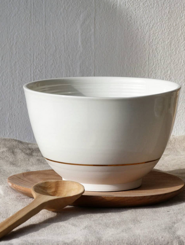 Grand bol en porcelaine cerclage or