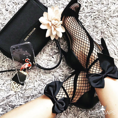 Mesh socks - black ribbon 🎀