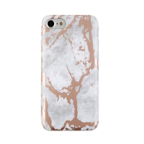 White with rose gold chrome - Marble case