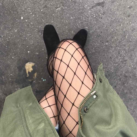 Mesh stockings - black