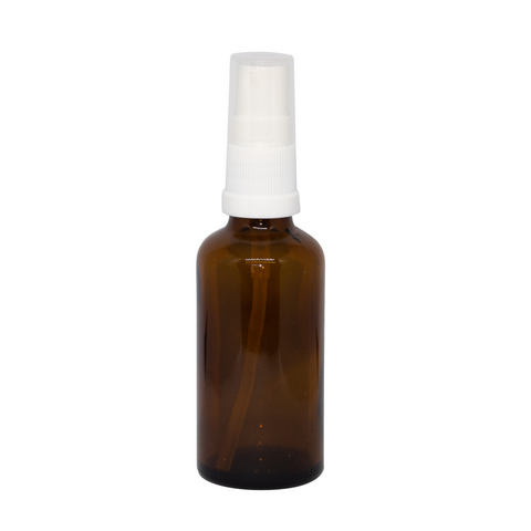 50ml Amber Glass Bottle with White Spray Top