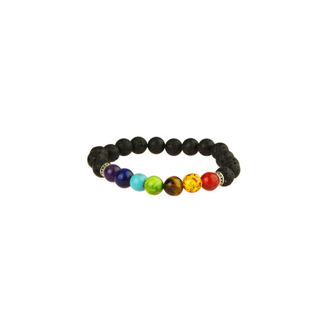 7 Chakra Black Beaded Bracelet with lava bead