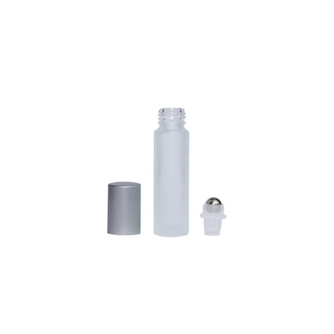 10ml Clear Frosted Bottle with Silver lid (Pack of 5)