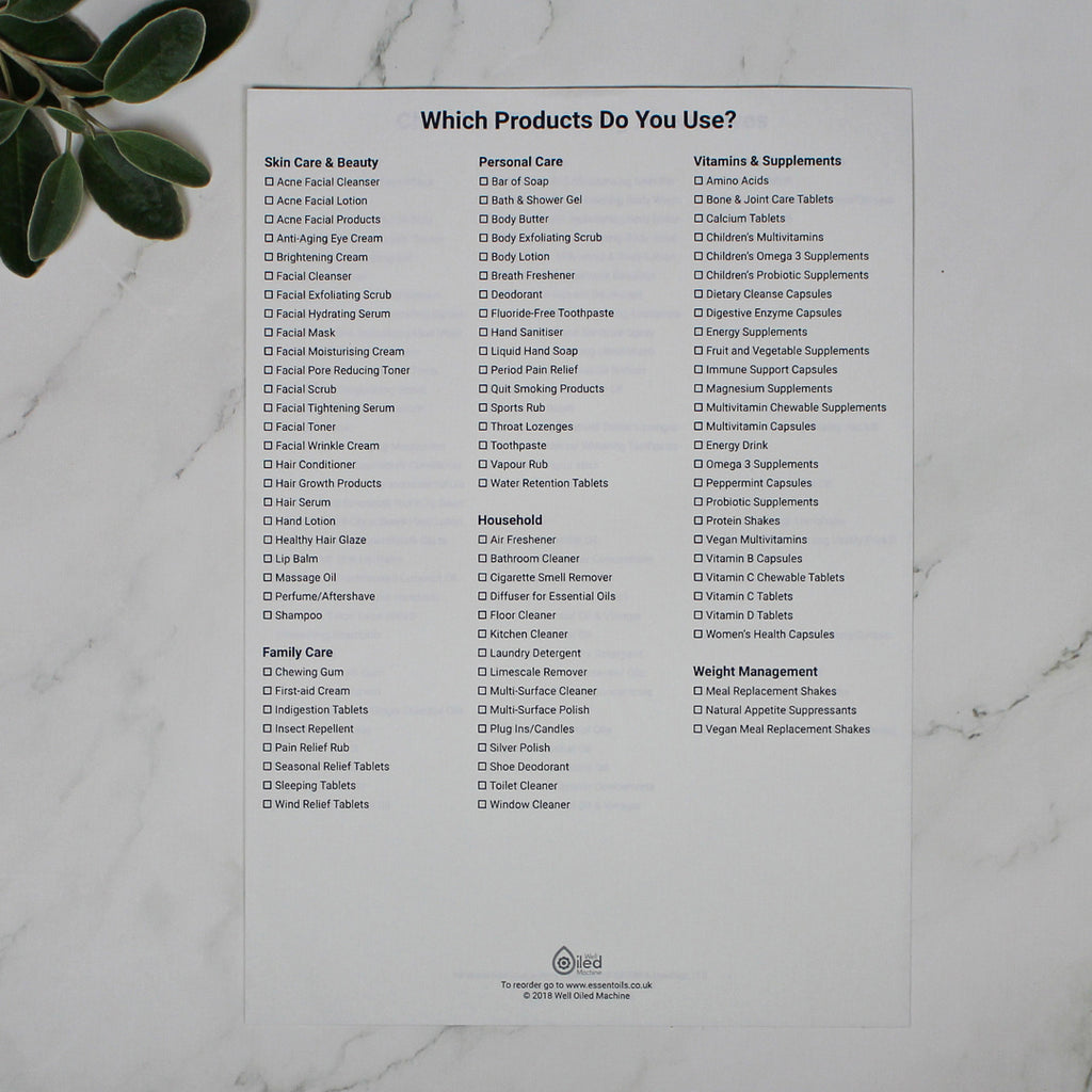 Which products do you use? (single sheet) ENGLISH