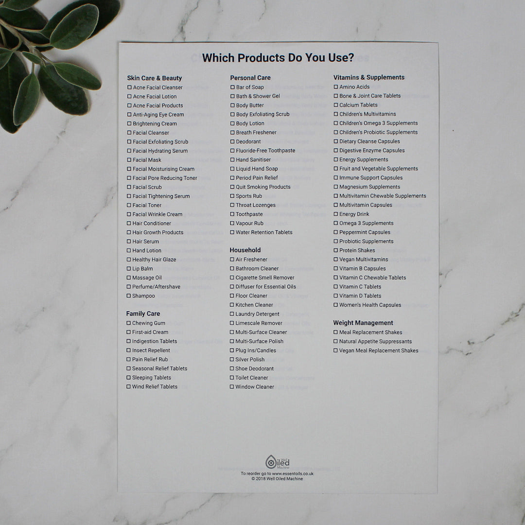 BOGO Which products do you use? (single sheet) ENGLISH