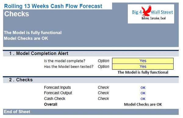 Rolling 13 Weeks Cash Flow
