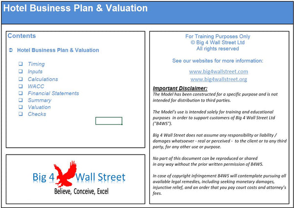 Hotel Financial Excel Model and Valuation Template