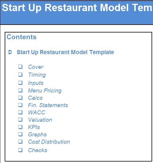Start Up Restaurant Financial Model Template