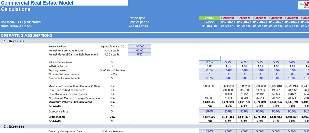 Commercial Real Estate Excel Model Template Big 4 Wall Street