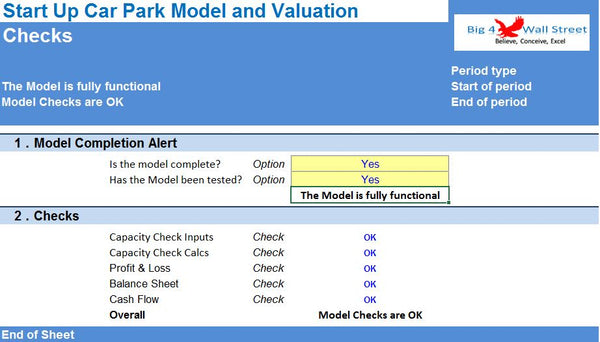 Start Up Car Park Excel Model and Valuation