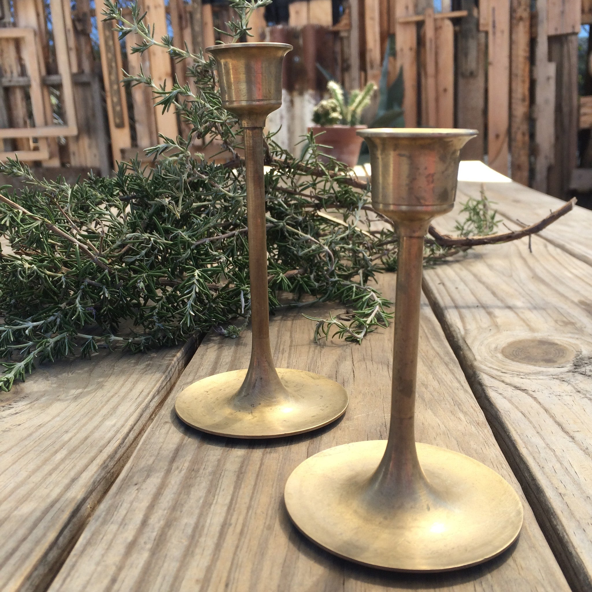turned brass candle stick