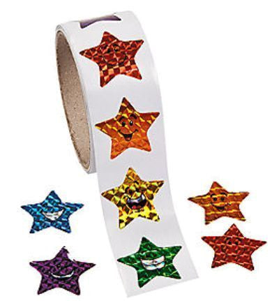 Laser Star Smiles Sticker Roll
