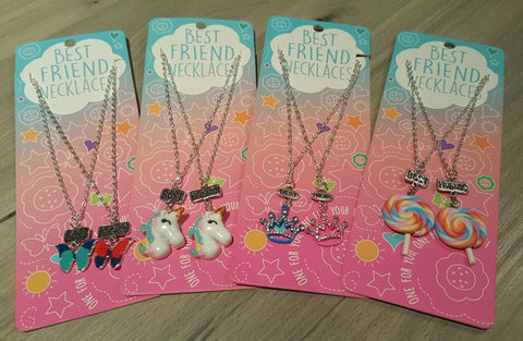 Flower & Butterfly Split Heart BFF Necklaces (x2)