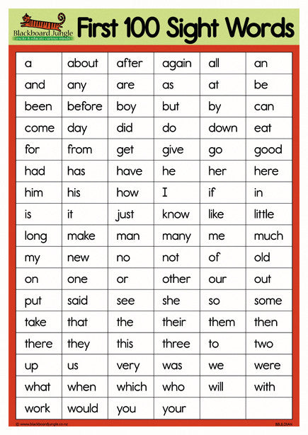 First 100 Sight Words A4 on Dolch Words Worksheets