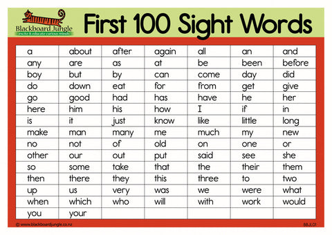 First 100 Sight Words - A5