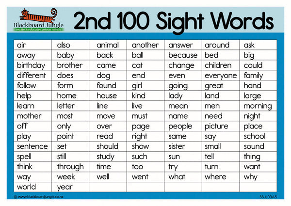 Second 100 Sight Words - A5