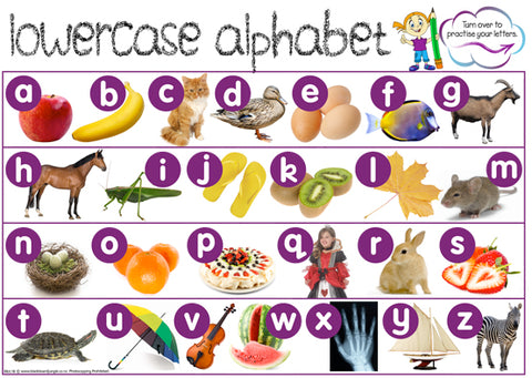 Lower Case Alphabet Chart with Letter Practise