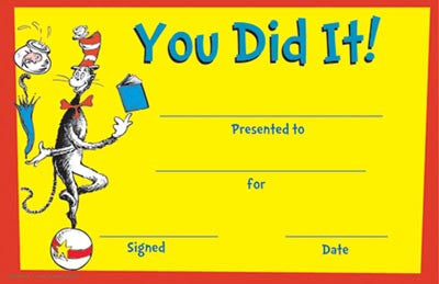 Dr Seuss - You Did It Award
