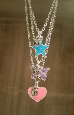 Heart/Butterfly/Star BFF Necklaces (x3)