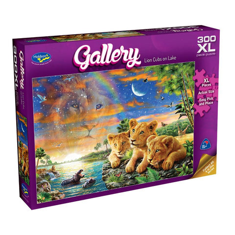 Lion Cubs on Lake Gallery Puzzle 300XL