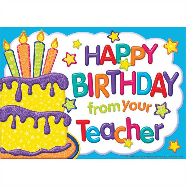 Colour My World Birthday Teacher Cards