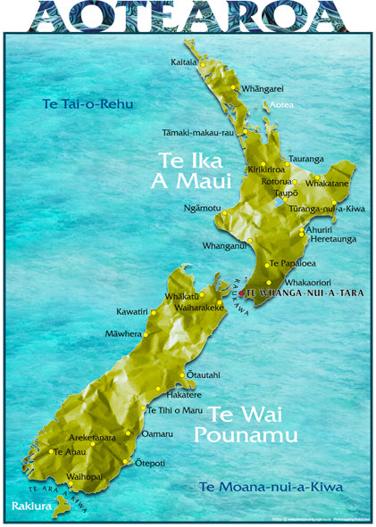 New Zealand Maori Map.A3 Te Reo Map Of New Zealand