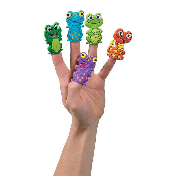 12 Frogs & Reptiles Puffy Puppets